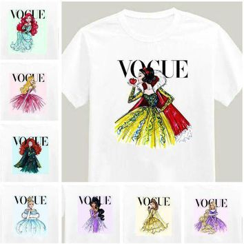 CREYCI7 2017 Brand New Women Tshirt Tattoo Vogue Princess Print Cotton Casual Shirt For Lady White Top Tee Hipster Big Size ZT203-15