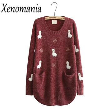 Oversized Sweater Embroidery Sweater Dress Pullover Women Sweaters And Pullovers Korean Christmas Jumper Winter Cashmere