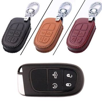 ac NOOW2 New Leather 4 Button Remote Key Bag Case Fob Holder Chain For Dodge Series C-Type
