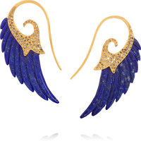 Noor Fares - Wing 18-karat gold, diamond and lapis lazuli earrings