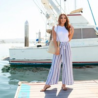 Coastline Striped Linen Pants