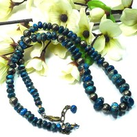 Midnight Blue Impression Jasper and Pyrite Handmade Gemstone Necklace