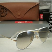Ray Ban Aviator Full Color White/Gold w Grey Gradient Lens (RB3025JM 146/32 58)