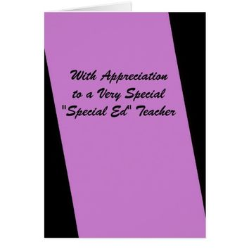 Special Ed Teacher Thank You Stripe of Fuschia Card