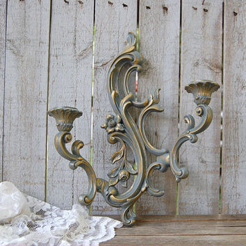 Candle Sconce, Shabby Chic, Vintage, Grey, Gold, Candle Holder, Homco, Syroco, Hollywood Regency, Double Sconce, Wall Sconce