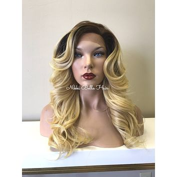 Blonde Balayage Brown Rooted Human Hair Blend Deep Side Part SWISS LACE SOFT  Lace Front Wig - Victoria