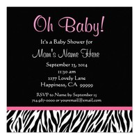 Black White Pink Zebra Print Baby Shower Personalized Invitation from Zazzle.com
