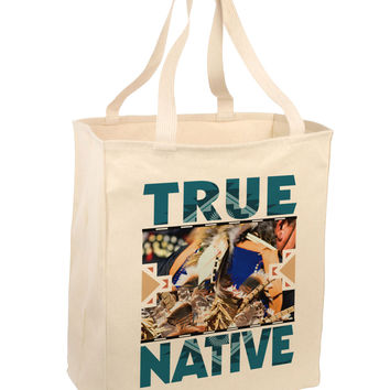 True Native American Large Grocery Tote Bag-Natural