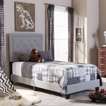 Baxton Studio Paris Modern and Contemporary Grey Fabric Upholstered Twin Size Tufting Bed Set of 1