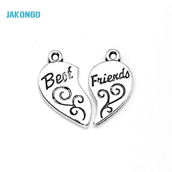 Tibetan Silver Plated Best Friends Heart Charms Pendants for Bracelet Necklace Jewelry Making DIY Handmade Craft 22x12mm-Best Christmas Gift