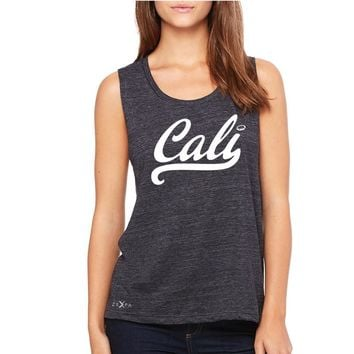 Zexpa Apparel Cali White Lettering Women's Muscle Tee California State Baseball Tanks