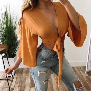 Women-Deep-V-Neck-Bandage-Flared-Sleeve-Crop-Top-Tie-Front-Top-Blouse-T-Shirt-US