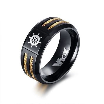 King Ras-Double Cable Wire Black And Gold Ring