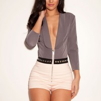 Clothing : Playsuits : 'Gia' Studded Stretch Crepe Playsuit