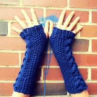 Long Fingerless Gloves Knitted Crochet Cable Knit Arm Warmers Womens Dark Blue Autumn Winter Spring