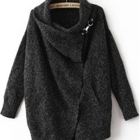 Black Lapel Long Sleeve Ouch Cardigan Sweater S007