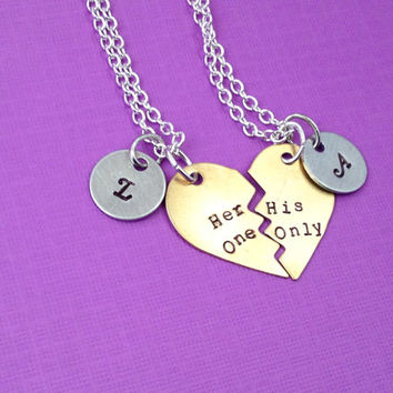 Her One, His Only Hand Stamped Broken Heart with Initial Charms Necklace Set- In Brass, Copper, or Aluminum