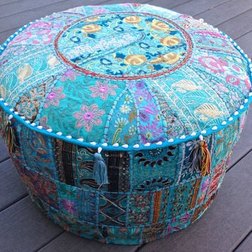 Patchwork Pouf Ottoman Large Turquoise or Black