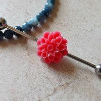 Pink Flower Industrial Barbell Stainless Steel Body Jewelry Upper Ear