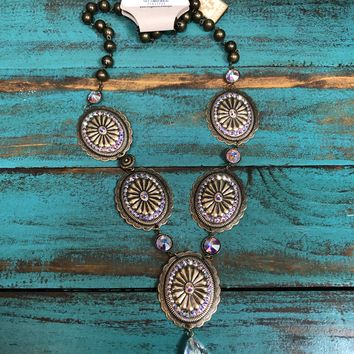 1N317BAB Bronze and AB crystal concho necklace