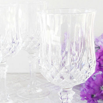 Crystal D Arquis Wine Glasses, Set of 4, France, Cut Crystal, Vintage, Glassware, Stemware, Barware, Wine Goblets