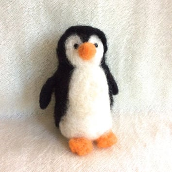 Needle felted penguin felting animal sculpture felting penguin happy feet unique gift one of a kind fiber art cute figurine doll Christmas