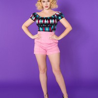 Laura Byrnes California High Waisted Shorts in Baby Pink Twill