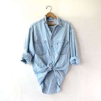 Vintage Light Wash Levis Shirt. Boyfriend Shirt. Oversized Denim Shirt. Slouchy Distressed Jean Shirt.