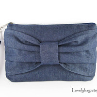 Big Bow Denim Clutch Wristlet Phone 5 Wallet iPhone 5 by lovelybag