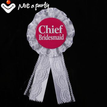 12pcs Wedding chief bridesmaid button white lace with ribbon badge decoration vintage bachelorette party hens night favors