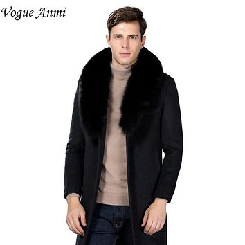 Vogue Anmi. Winter Wool Coat Slim Fit Jackets Fashion Fox Fur Collar Warm Man Casual Jacket Overcoat Pea Coat Plus Size M-XXXL