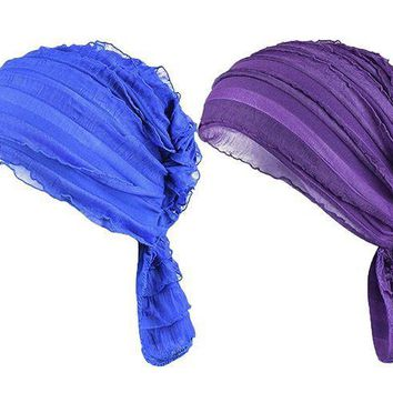 ICIK4S2 Staringirl Women 2 Pack Ruffle Chemo Hat Beanie Head Scarf Hair Coverings Cancer Caps
