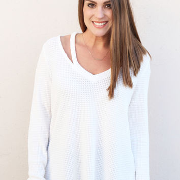 Waffle Knit Cut Out Sweater