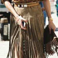 Brown Suedette High Waist Tassel Fringed Skirt
