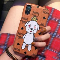 MCM Fashionable Cute Mobile Phone Cover Case For iphone 6 6s 6plus 6s-plus 7 7plus 8 8plus X Brown