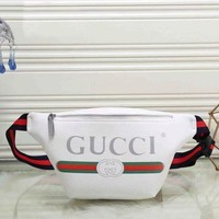 Gotopfashion GUCCI Trending Women Men Leather Print Satchel Waist Bag Single Shoulder Bag White