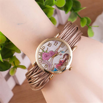 Womens Girls Unique Eiffel Tower Casual Strap Watch Best Christmas Gift Watch-443