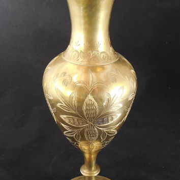 "Large Brass Vase 12"" with Ruffled Rim, Vintage Brass Etched Vase, Floral and Leaf Etched Design, Made in India"
