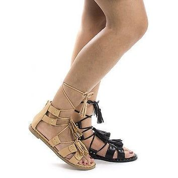 Aloha1 By Liliana, Open Toe Gladiator Studded Tassel Leg Wrap Flat Sandals
