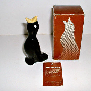 Vintage Pie Bird Knobler Japan Blackbird Crow Ceramic In Original Box