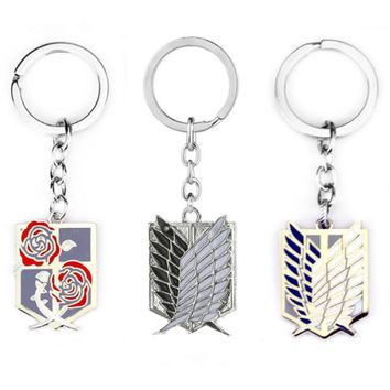 Cool Attack on Titan New Anime keychain  badge pendant necklace Stainless steel key chain holder cover charms for motorcycle car keys AT_90_11