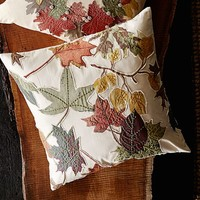 Harvest Leaf Applique Embroidered Pillow Cover