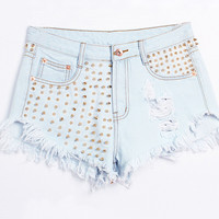 Light Blue Sequined Riveted Ripped Shorts