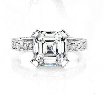 Ladies Platinum pave diamond engagement ring with 2ct Asscher Cut White Sapphire and 1 carat of G-VS2 diamonds