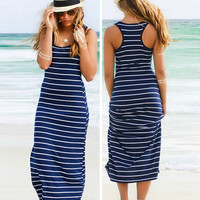 Blue Stripe Print Sleeveless Racer Back Maxi Dress