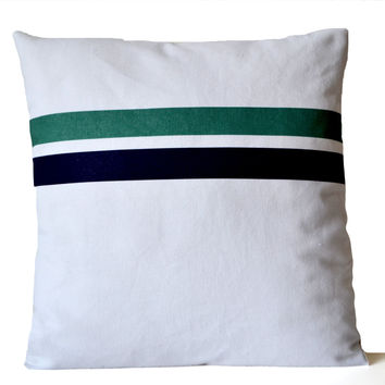 Decorative Pillow Cover White Cotton Canvas Geometric Stripes Pillow Nautical Beach