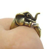3D Elephant Shaped Animal Hug Ring in Brass | US Sizes 6 to 8
