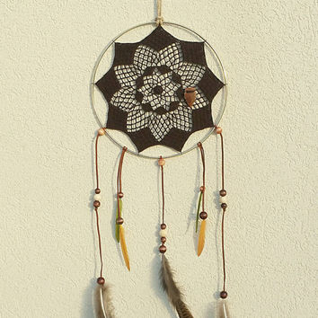 Dream Catcher - Large Dream Catcher - Boho Dream Catcher - 10 Inch Large Dream Catcher - Crochet Dream Catcher - Brown Dreamcatcher