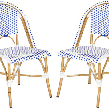 Blue Odeon Stackable Side Chairs, Pair, Outdoor Dining Chairs