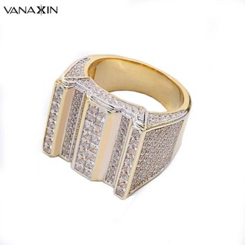 VANAXIN 925 Silver Square Concavo Convex Rhinestones Rings Rhodium Inlay CZ Hiphop Party Ring Men Free Box Prong Paved Jewelry